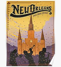 New Orleans The Big Easy Vintage Travel Poster Poster