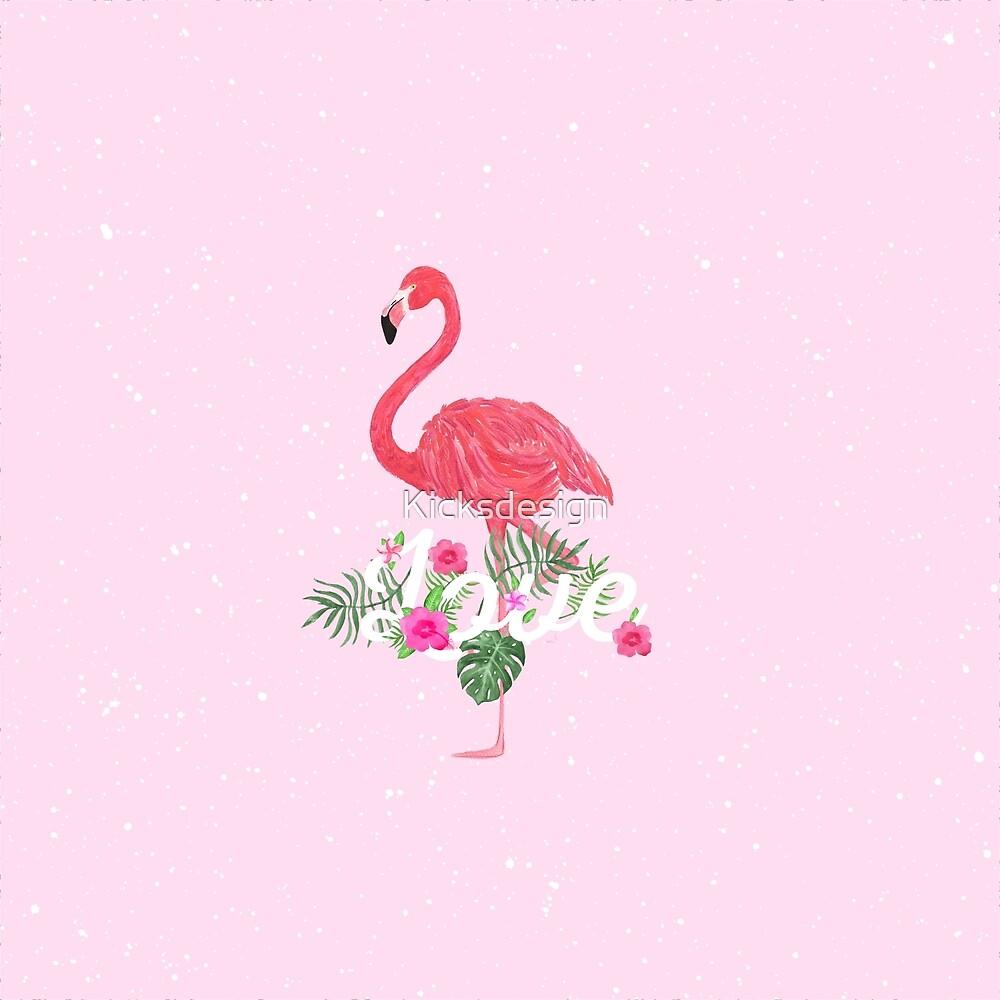 Elegant pink tropical flamingo flowers love typo by Kicksdesign