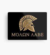 Molon labe-Spartan Warrior Metal Print