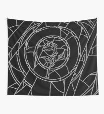 Stained Glass Rose Black Wall Tapestry