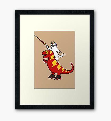 Unicorn Cat Riding Lightning T-Rex Framed Print