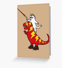 Unicorn Cat Riding Lightning T-Rex Greeting Card