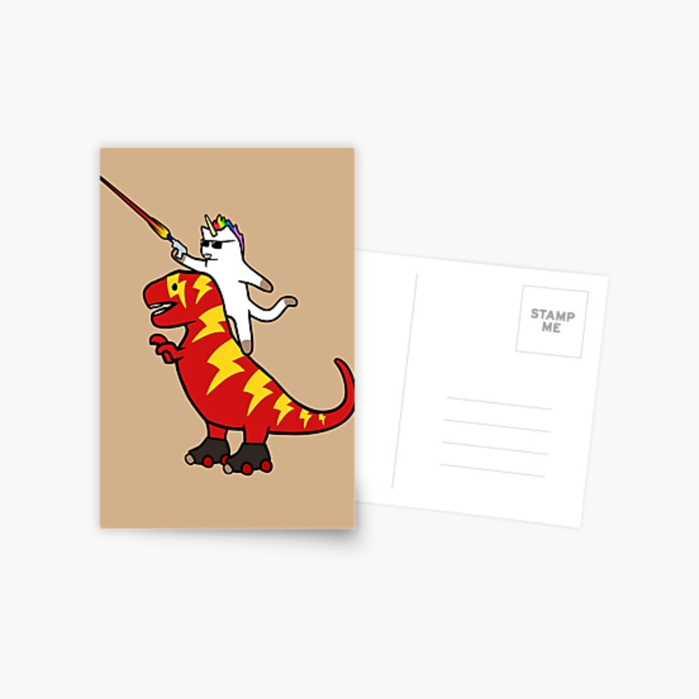 Unicorn Cat Riding Lightning T-Rex Postcard