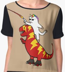 Unicorn Cat Riding Lightning T-Rex Chiffon Top
