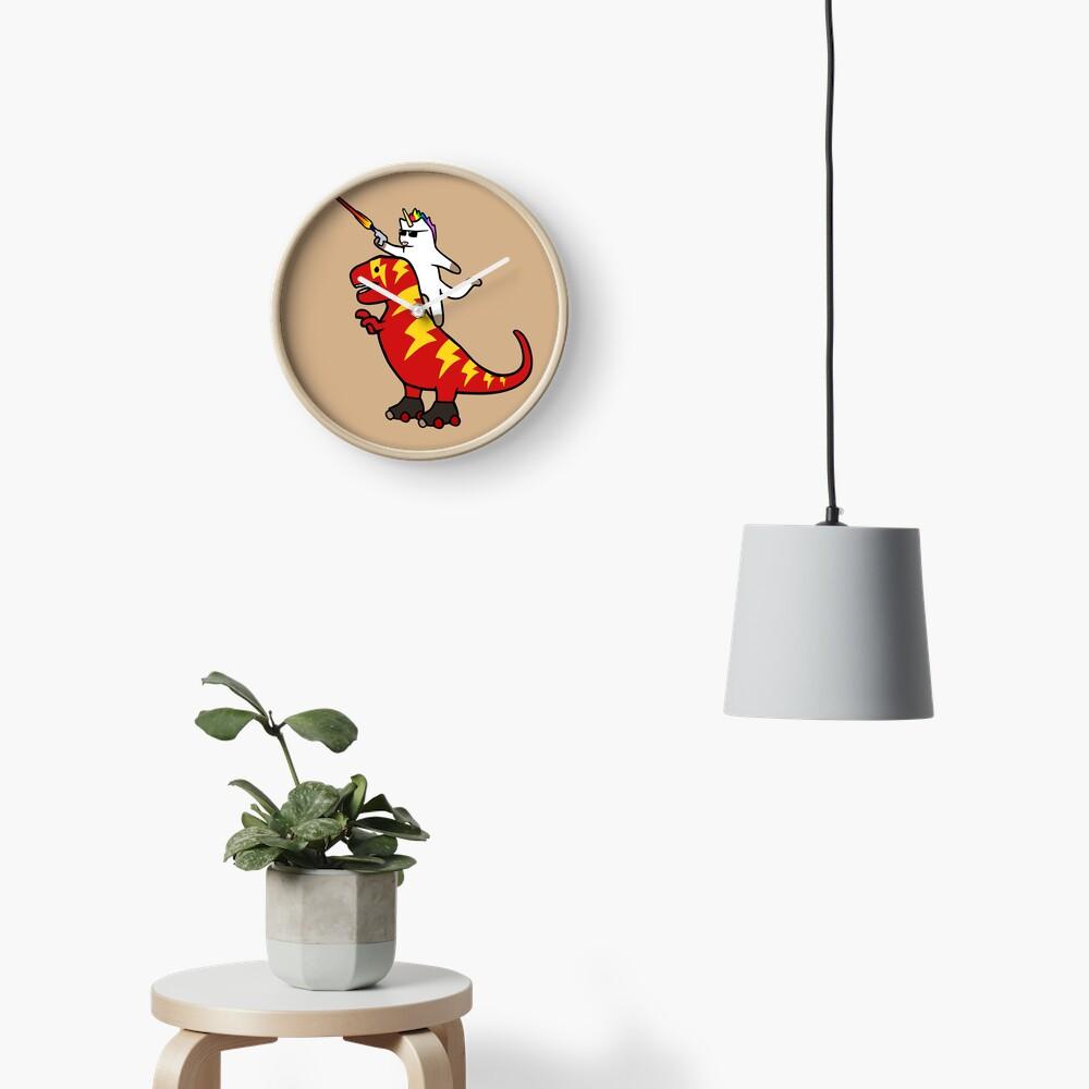 Unicorn Cat Riding Lightning T-Rex Clock