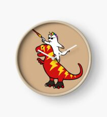 Unicorn Cat Riding Lightning T-Rex Clock