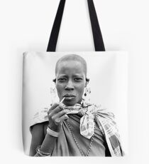 Smoking Masaii woman Tote Bag