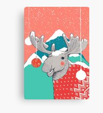 Christmoose, Winter Moose Canvas Print