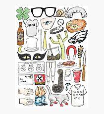 It's Always Sunny in Philadelphia Flat Lay Hand Drawn Illustration Photographic Print
