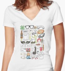 It's Always Sunny in Philadelphia Flat Lay Hand Drawn Illustration Women's Fitted V-Neck T-Shirt