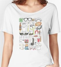 It's Always Sunny in Philadelphia Flat Lay Hand Drawn Illustration Women's Relaxed Fit T-Shirt
