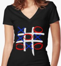 Tic-tac-toe Women's Fitted V-Neck T-Shirt