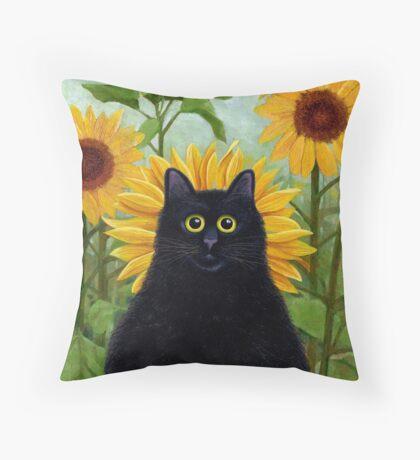 Dan de Lion with Sunflowers Throw Pillow