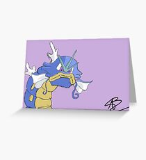 Gyarados with a closed mouth Greeting Card