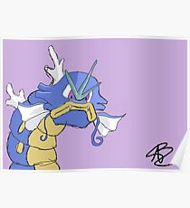 Gyarados with a closed mouth Poster