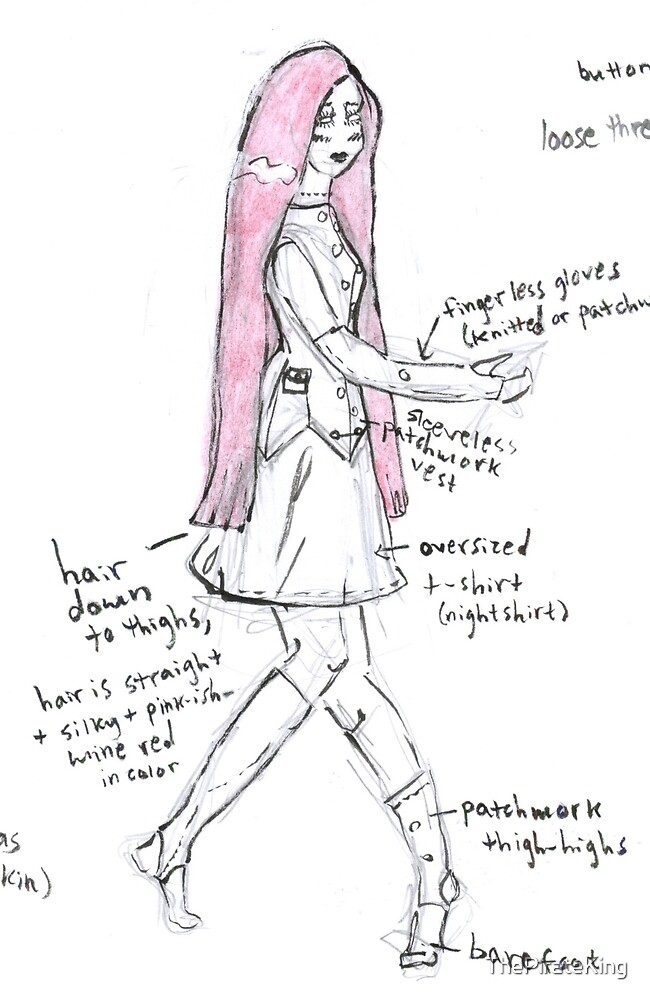 NBC Sally Costume Design Sketch (larger, without title) by ThePirateKing