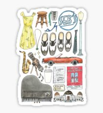 La La Land Illustration Jazz Saxophone Music Musical  Sticker