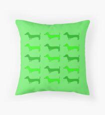 Dachshund Tiles GREEN Throw Pillow