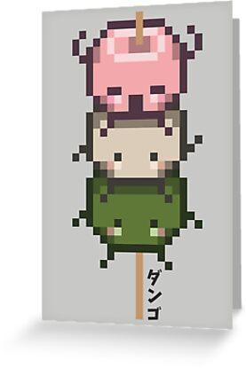 Pixel Hanami Dango ダンゴ Greeting Cards By Latannia Butterfield