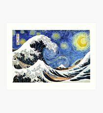 Iconic Sternennachtwelle von Kanagawa Kunstdruck