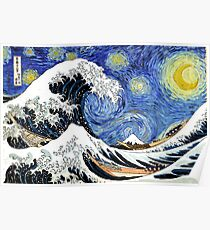 Iconic Starry Night Wave of Kanagawa Poster