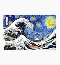 Iconic Starry Night Wave of Kanagawa Photographic Print
