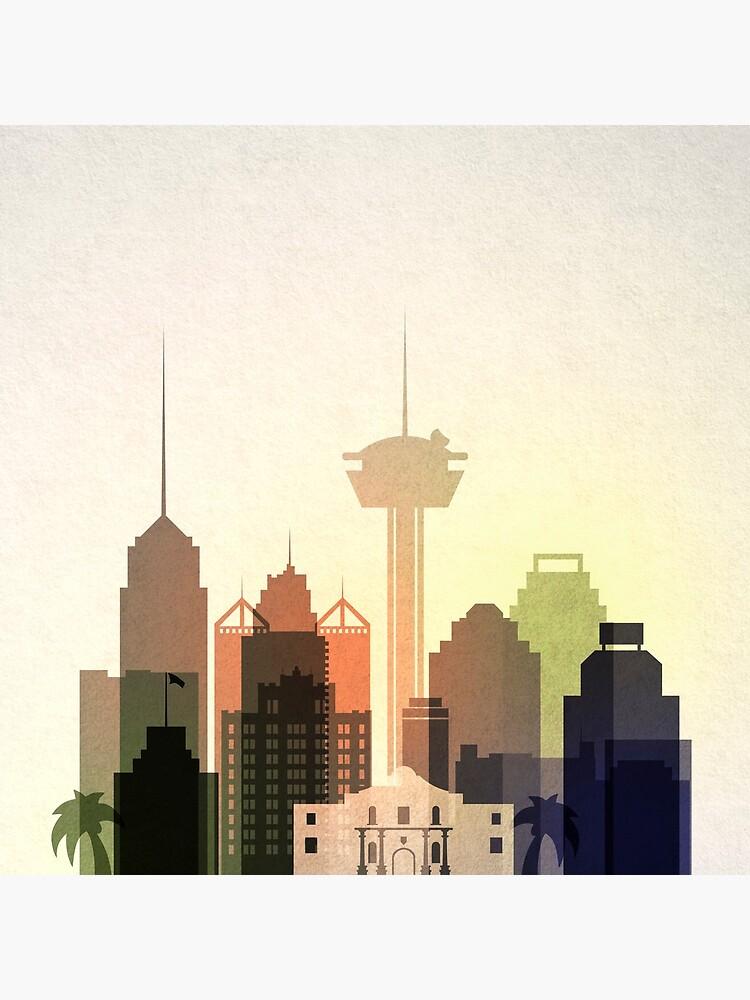 San Antonio Skyline, Texas, bunte Skyline von IvonDesign