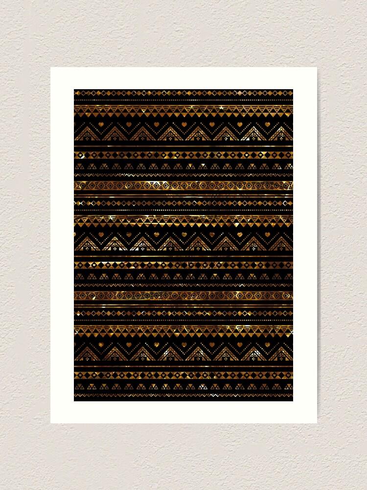 Alternate view of Aztec Black Tinsel Gold Art Print