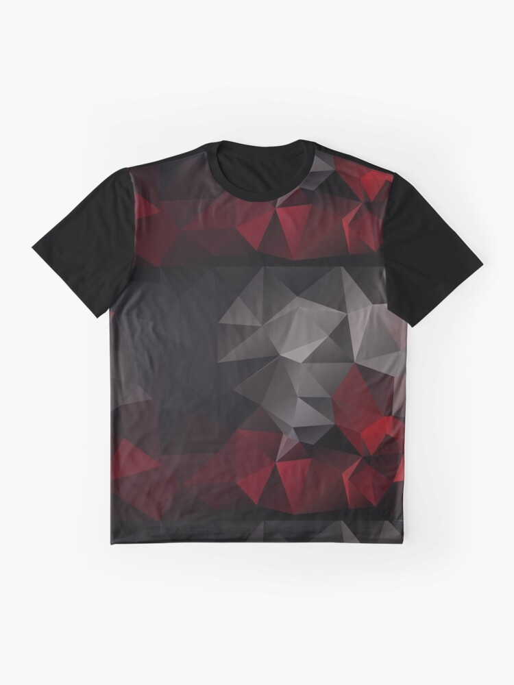 Alternate view of Abstract background of triangles polygon wallpaper in black red colors Graphic T-Shirt