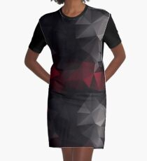 Abstract background of triangles polygon wallpaper in black red colors Graphic T-Shirt Dress