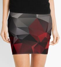 Abstract background of triangles polygon wallpaper in black red colors Mini Skirt