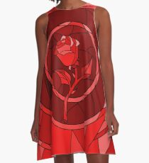 Stained Glass Rose Red A-Line Dress
