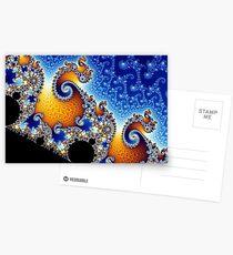 Mandelbrot Blue Double Spiral Fractal Postcards