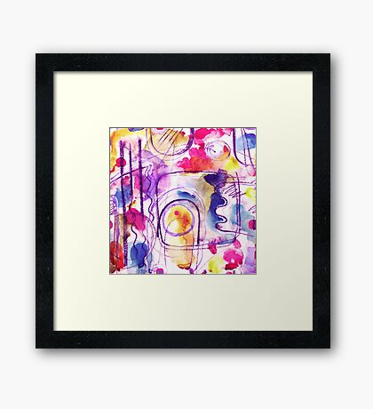 Abstract Composition - pink watercolour pattern by Cecca Designs Framed Print
