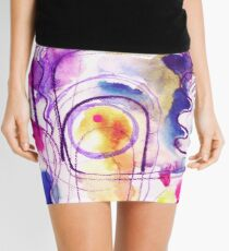 Abstract Composition - pink watercolour pattern by Cecca Designs Mini Skirt