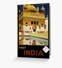 Vintage India Travel Poster Advert Greeting Card