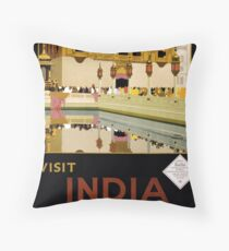 Vintage India Travel Poster Advert Throw Pillow