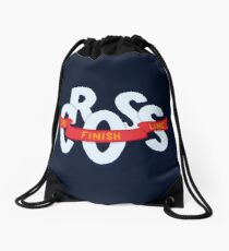 Cross the finish line Drawstring Bag