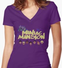 Gaming [C64] -  Maniac Mansion Women's Fitted V-Neck T-Shirt