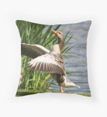 Goose in the reeds Throw Pillow