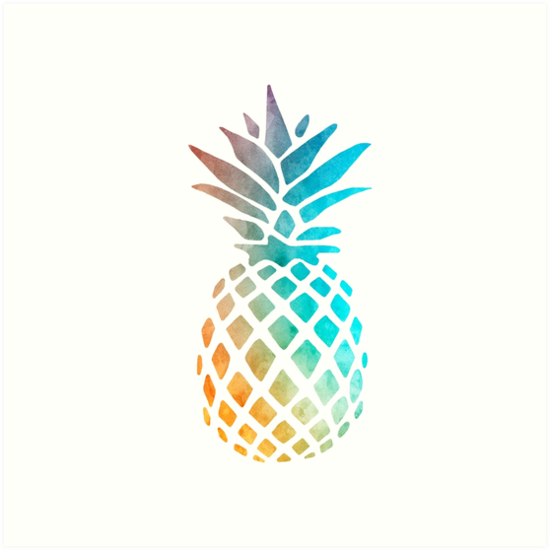 Quot Watercolor Pineapple Quot Art Print By Maryedenoa Redbubble