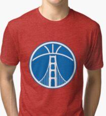 Warriors The Bridge - White on Blue Tri-blend T-Shirt