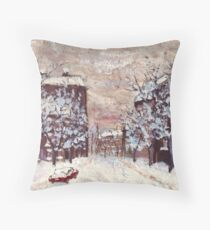 City in snow oil painting Throw Pillow