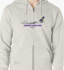 Airbus A380-800 - Lufthansa Zipped Hoodie