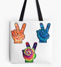 Tie Die Peace Signs Tote Bag