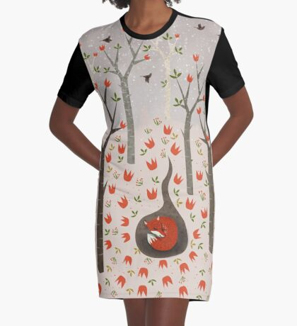 Sleeping Fox Graphic T-Shirt Dress