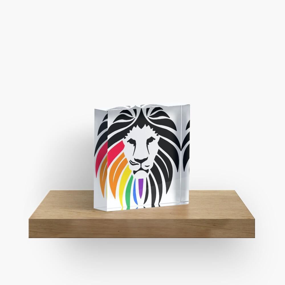 Regenbogen-Löwenkopf Acrylblock
