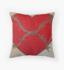 Heart Wrapped in Barbed Wire Throw Pillow