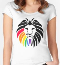 Rainbow Lion Head Women's Fitted Scoop T-Shirt