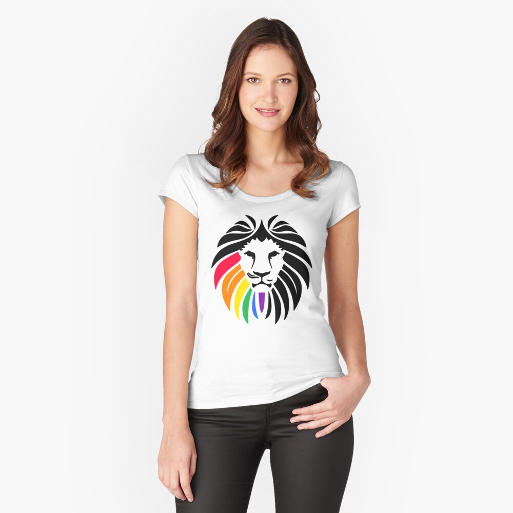 Regenbogen-Löwenkopf Tailliertes Rundhals-Shirt